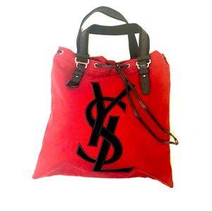 Yves Saint Laurant canvas tote shoulder bag